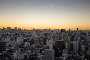 Aerial view of Tokyo with Mount Fuji on the horizon, Japan.