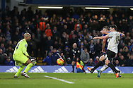 John Terry, the Chelsea captain scores his sides 3rd goal to make it 3-3 as the assistant referee keeps his flag down.. Barclays Premier league match, Chelsea v Everton at Stamford Bridge in London on Saturday 16th January 2016.<br /> pic by John Patrick Fletcher, Andrew Orchard sports photography.