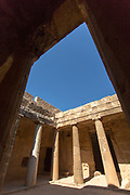 Architecture of old ruin captured from low angle, Paphos Archaeological Park, Paphos, Cyprus