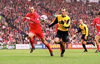 Fredrik Ljungberg (Arsenal) Sami Hyypia (Liverpool). Liverpool 4:0 Arsenal, FA Carling Premiership, 23/12/2000. Credit Colorsport / Stuart MacFarlane.