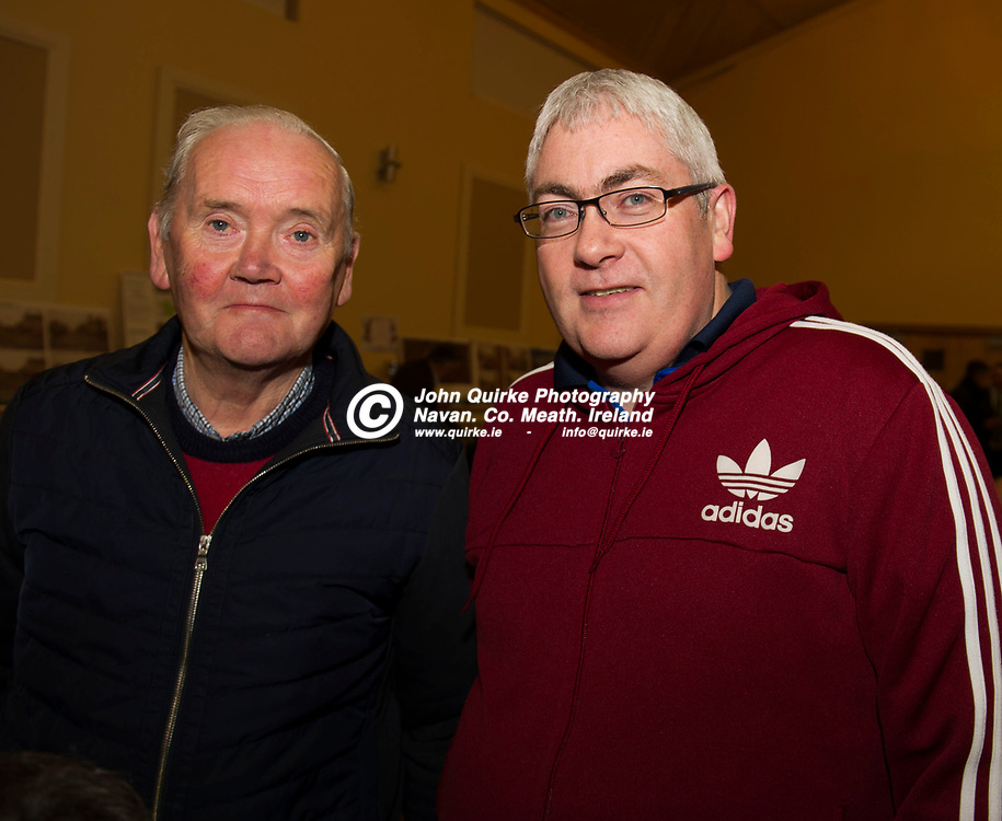 11-12-17. Meath GAA Annual Convention at Navan O'Mahony's GAA Clubhouse, Navan.<br /> Leo Halpin (Left) and Dermot Monaghan, Oldcastle  at the Annual Convention.<br /> Photo: John Quirke / www.quirke.ie<br /> ©John Quirke Photography, Unit 17, Blackcastle Shopping Cte. Navan. Co. Meath. 046-9079044 / 087-2579454.