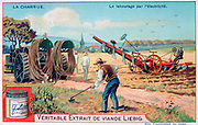 Electric plough being dragged across a field.   Liebig Trade Card early 20th century. Agriculture Culitivation Ploughing Mechanised Power Electricty