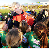 29 November 2008; Kilmihil manager Thomas McMahon is lifted high by the team after winning their match against Knockmore. VHI Healthcare All-Ireland Ladies Junior Club Football Championship Final, Kilmihil, Clare, v Knockmore, Mayo. Tuam Stadium, Tuam, Co. Galway. Picture credit: Ray Ryan / SPORTSFILE