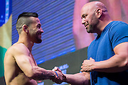 LAS VEGAS, NV - JULY 6:  Pedro Munhoz shakes hands with Dana White during the UFC Fight Night weigh-ins at T-Mobile Arena on July 6, 2016 in Las Vegas, Nevada. (Photo by Cooper Neill/Zuffa LLC/Zuffa LLC via Getty Images) *** Local Caption *** Pedro Munhoz; Dana White