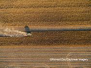 63801-08509 Corn Harvest, John Deere combine harvesting corn - aerial Marion Co. IL