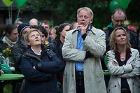 """20 SEP 2013, BERLIN/GERMANY:<br /> Renate Kuenast, B90/Gruene, Fraktionsvorsitzende, Juergen Trittin, B90/Gruene, Spitzenkandidat, und Steffi Lemke, B90/gruene, Pol. Geschaeftsfuehrerin, (v.L.n.R.), waehrend einer Wahlkampfveranstaltung """"Wahlkampfhoehepunkt"""", Wahlkampf zur Bundestagswahl 2013, RAW Tempel, Revaler Straße 99, Berlin-Friedrichshain <br /> IMAGE: 20130920-02-062<br /> KEYWORDS: Wahlkampf, Veranstaltung, Renate Künast, Jürgen Trittin"""