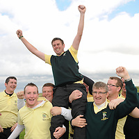 16 September 2011; Eoghan O'Loughlin, Team captain, Woodstock Golf Club, Co. Clare, is carried shoulder high by team members after the Pierce Purcell Shield Final against Corrstown Golf Club, Co Dublin. Chartis Insurance Ireland Cups and Shields Finals 2011, Castlerock Golf Club, Co. Derry. Picture credit: Oliver McVeigh/ SPORTSFILE *** NO REPRODUCTION FEE ***