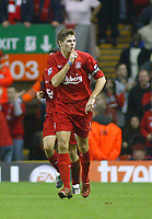14/12/2004 - FA Barclays Premiership - Liverpool v Portsmouth - Anfield, Liverpool<br />Liverpool's goalscorer Steven Gerrard points to the press box and hushes the journalists after scoring his freekick<br />Photo:Jed Leicester/Back Page Images