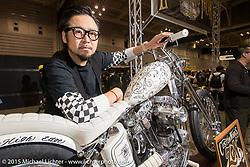 Yuichi Yoshizawa of Custom Works Zon near Kyoto, Japan with his Sportster entry at the Mooneyes Yokohama Hot Rod & Custom Show. Yokohama, Japan. December 6, 2015.  Photography ©2015 Michael Lichter.