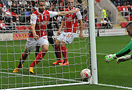 Scott Loach goalkeeper of Rotherham United scrambles to clear the ball off the line after a shot fromJordan Cousins of Charlton Athletic during the Sky Bet Championship match at the New York Stadium, Rotherham<br /> Picture by Graham Crowther/Focus Images Ltd +44 7763 140036<br /> 20/09/2014