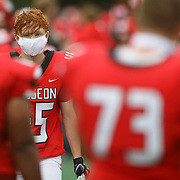 Wauseon's Michael Kretz (45) wears a mask while on the sidelines during a high school football game between Wauseon and Liberty Center at Wauseon High School in Wauseon, Ohio, on Friday, Aug. 28, 2020. THE BLADE/KURT STEISS