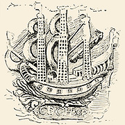 The Ship Sign of the Dutch East India Company, Carved on a stone in the Castle, Cape Town, South Africa From the Book  ' Old Cape Colony; a chronicle of her men and houses from 1652-1806 ' by Trotter, Alys Fane (Keatinge), Mrs Publication date 1903 published by Westminster : A. Constable & co., ltd.