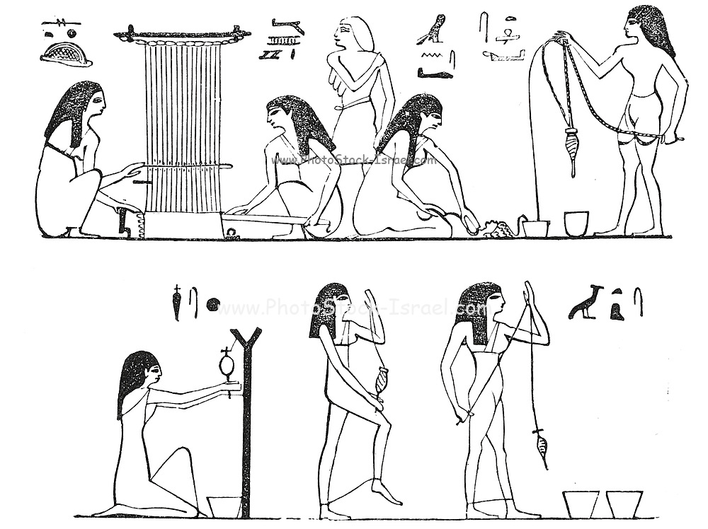 Ancient Spinning and Weaving. From Wilkinson's ' Ancient Egyptians ' From book ' Missionary travels and researches in South Africa : including a sketch of sixteen years' residence in the interior of Africa, and a journey from the Cape of Good Hope to Loanda, on the west coast, thence across the continent, down the river Zambesi, to the eastern ocean ' by David Livingstone Published in London in 1857