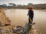 """01 APRIL 2016 - WANG NUEA, LAMPANG, THAILAND:  A man panning for gold shovels rocks and gravel into his pan in the Mae Wang. Villagers in the Wang Nuea district of Lampang province found gold in the Mae Wang (Wang River) in 2011 after excavation crews dug out sand for a construction project. A subsequent Thai government survey of the river showed """"a fair amount of gold ore,"""" but not enough gold to justify commercial mining. Now every year when the river level drops farmers from the district come to the river to pan for gold. Some have been able to add to their family income by 2,000 to 3,000 Baht (about $65 to $100 US) every month. The gold miners work the river bed starting in mid-February and finish up by mid-May depending on the weather. They stop panning when the river level rises from the rains. This year the Thai government is predicting a serious drought which may allow miners to work longer into the summer. The 2016 drought has lowered the water level so much that the river is dry in most places and people can only pan for gold in a very short stretch of the river.     PHOTO BY JACK KURTZ"""