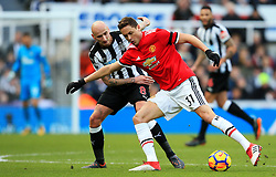 Nemanja Matic of Manchester United takes on Jonjo Shelvey of Newcastle United - Mandatory by-line: Matt McNulty/JMP - 11/02/2018 - FOOTBALL - St James Park - Newcastle upon Tyne, England - Newcastle United v Manchester United - Premier League
