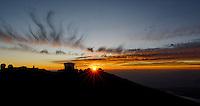 Sunset over Haleakala Satellite Tracking Station from Pu'U'Ula'Ula peak in Haleakala National Park, Maui Hawaii. Image taken with a Nikon D3x and 24 mm f/3.5 PC-E lens (ISO 100, f/16, 1/10 sec). Single shot HDR with Dx0 Pro