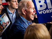 01 MAY 2019 - IOWA CITY, IOWA:  Former Vice President JOE BIDEN talks to supporters in the crowd after his speech during his campaign event in Iowa City. The event was held in microbrewery Biden is running to be the Democratic nominee for the US Presidency in 2020. He is campaigning in Iowa City and Des Moines today. Iowa traditionally hosts the the first selection event of the presidential election cycle. The Iowa Caucuses will be on Feb. 3, 2020.             PHOTO BY JACK KURTZ