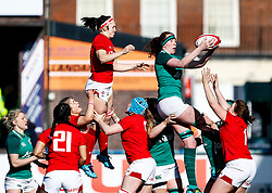 Aoife McDermott of Ireland  claims the lineout<br /> <br /> Photographer Simon King/Replay Images<br /> <br /> Six Nations Round 5 - Wales Women v Ireland Women- Sunday 17th March 2019 - Cardiff Arms Park - Cardiff<br /> <br /> World Copyright © Replay Images . All rights reserved. info@replayimages.co.uk - http://replayimages.co.uk