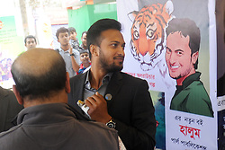 February 5, 2018 - Dhaka, Bangladesh - Fan of Cricketer Shakib Al Hasan gathered at at Parl Publications stall in Ekushey Book Fair to see and buy shakid's written book name is ''Halum'' in Dhaka, Bangladesh. On February 5, 2018. (Credit Image: © Str/NurPhoto via ZUMA Press)