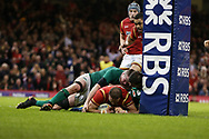 Jamie Roberts of Wales scores his teams 3rd try. RBS Six Nations 2017 international rugby, Wales v Ireland at the Principality Stadium in Cardiff , South Wales on Friday 10th March 2017.  pic by Andrew Orchard, Andrew Orchard sports photography
