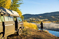 Van camping. John Day River. Central Oregon.