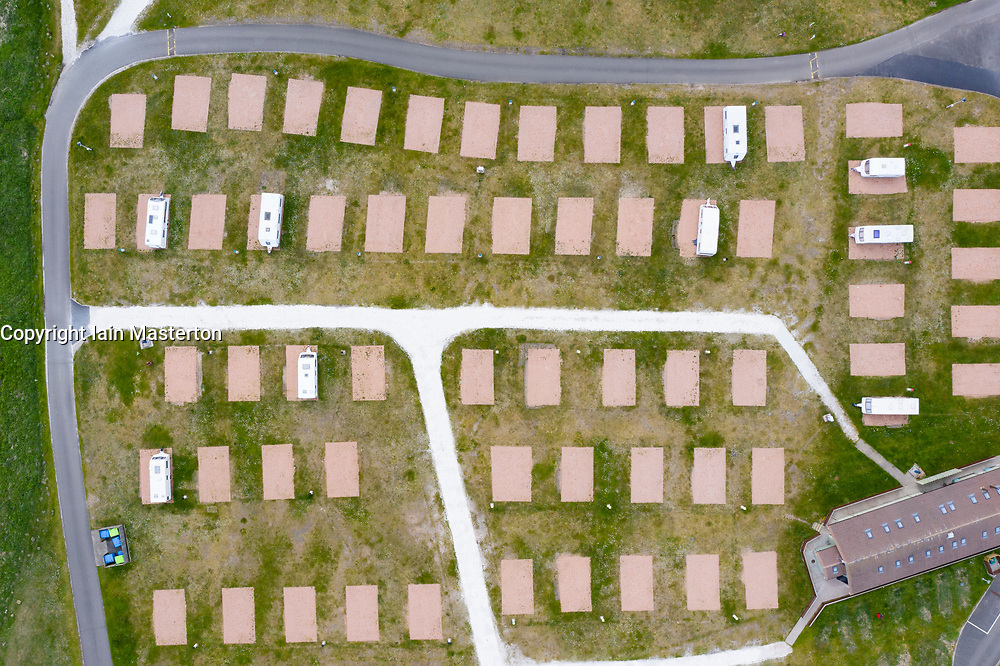 Elie, Scotland, UK. 19 May 2020. Aerial view of empty caravan pitches at Elie Holiday Park near Elie in Fife. The park would normally be busy at this time year but is closed due to the Covid-19 pandemic.  Iain Masterton/Alamy Live News