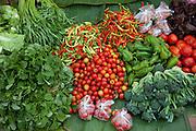 Luang Prabang, Laos. Morning food market. Fresh vegetables.