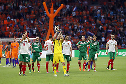 (L-R) Ivaylo Chochev of Bulgaria, Orlin Starokin of Bulgaria, Georgi Terziev of Bulgaria, goalkeeper Plamen Iliev of Bulgaria, Peter Zanev of Bulgaria, Anton Nedyalkov of Bulgaria, Andrej Galabinov of Bulgaria during the FIFA World Cup 2018 qualifying match between The Netherlands and Bulgariaat the Amsterdam Arena on September 03, 2017 in Amsterdam, The Netherlands