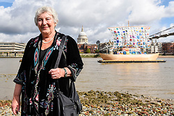 """© Licensed to London News Pictures. 04/09/2019. LONDON, UK. Emilia Kabakov at the photocall for the launch of """"The Ship of Tolerance"""" at Tate Modern, Bankside.  The floating installation by Emilia Kabakov (of Russian conceptual artist duo Ilya and Emilia Kabakov) forms part of Totally Thames Festival and will be moored 4 September to 31 October.  The goal of the artwork is to educate and connect the youth of the world through the language of art.  Photo credit: Stephen Chung/LNP"""
