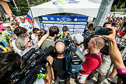 Primoz Roglic of Team Lotto NL Jumbo, Stage winner and winner in Overall classification with journalists after the trophy ceremony after the 5th Time Trial Stage of 25th Tour de Slovenie 2018 cycling race between Trebnje and Novo mesto (25,5 km), on June 17, 2018 in  Slovenia. Photo by Vid Ponikvar / Sportida