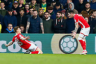 Barnsley midfielder Harvey Barnes (15) scores and celebrates during the EFL Sky Bet Championship match between Norwich City and Barnsley at Carrow Road, Norwich, England on 18 November 2017. Photo by Phil Chaplin.