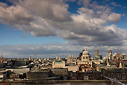 View over the Thames and City of London with the dome of Saint Pauls Cathedral in the foreground seen from the new viewing platform at the Tate Modern Gallery. The 360-degree rooftop viewing deck is one of the headline features of the Switch House – the 64.5-metre-high Tate Modern gallery extension by Herzog & de Meuron, opened to the public in June 2016.