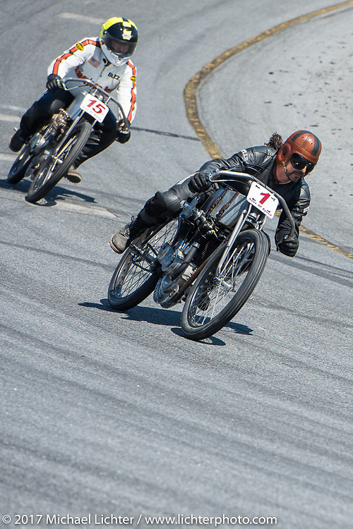 Billy Lane racing his 1924 single-speed 1924 Harley-Davidson Model J 62 cubic inch racer with American Iron Magazine editor Buzz Kanter on his 1915 Harley-Davidson 1,000 cc racer just behind him in Billy's Son's of Speed race during Daytona Bike Week. New Smyrna Beach, FL. USA. Saturday March 18, 2017. Photography ©2017 Michael Lichter.