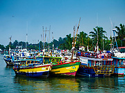 08 OCTOBER 2017 - NEGOMBO, WESTERN PROVINCE, SRI LANKA: Fishing boats in the port in Negombo, north of Colombo. Fish is an important source of protein for many Sri Lankans.    PHOTO BY JACK KURTZ