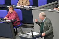 DEU, Deutschland, Germany, Berlin, 29.10.2020: Deutscher Bundestag, Rede von AfD-Fraktionschef Alexander Gauland (MdB, Alternative für Deutschland, AfD) nach der Regierungserklärung von Bundeskanzlerin Dr. Angela Merkel (CDU) zur Bewältigung der COVID-19 Pandemie.