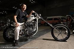 Atsushi Kuroda with his 1966 Harley-Davidson Shovelhead chopper at the 27th Annual Mooneyes Yokohama Hot Rod Custom Show 2018. Yokohama, Japan. Sunday, December 2, 2018. Photography ©2018 Michael Lichter.