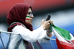 June 15, 2018 - Saint Petersburg, Russia - Group B Morocco v IR Iran - FIFA World Cup Russia 2018.Iran supporters  during the 2018 FIFA World Cup Russia group B match between Morocco and IR Iran at the Saint Petersburg Stadium on June 15, 2018 in Saint Petersburg, Russia. (Credit Image: © Matteo Ciambelli/NurPhoto via ZUMA Press)