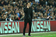 Roger Schmidt, the Bayer Leverkusen coach looking on from the touchline. UEFA Champions league match, group E, Tottenham Hotspur v Bayer Leverkusen at Wembley Stadium in London on Wednesday 2nd November 2016.<br /> pic by John Patrick Fletcher, Andrew Orchard sports photography.