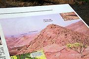 Information panel about Risco de Las Pendas mountain, Fuerteventura, Canary Islands, Spain