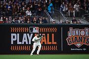 San Francisco Giants left fielder Eduardo Nunez (10) makes a catch against the Los Angeles Dodgers at AT&T Park in San Francisco, California, on April 24, 2017. (Stan Olszewski/Special to S.F. Examiner)