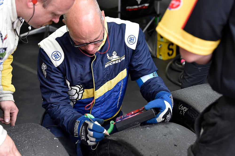 #63 Corvette Racing Chevrolet Corvette C7.R: Jan Magnussen, Antonio Garcia, Mike Rockenfeller, Michelin tire engineer<br /> Saturday 16 June 2018<br /> 24 Hours of Le Mans<br /> 2018 24 Hours of Le Mans<br /> Circuit de la Sarthe WI FR<br /> World Copyright: Scott R LePage