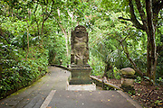 Apr. 21 - UBUD, BALI, INDONESIA: The entrance to the Monkey Forest in Ubud, Bali. Hundreds of long-tailed macaques (Macaca fascicuiaris) live in the forest, which is also the site of several Hindu temples and is sacred in Bali society.  Photo by Jack Kurtz/ZUMA Press