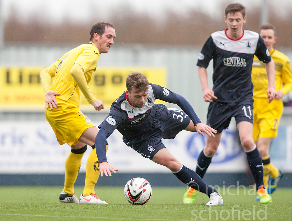 Queen of the South's Mark Kerr and Falkirk's Rory Loy.<br /> Falkirk 1 v 0 Queen of the South, Scottish Championship game today at the Falkirk Stadium.<br /> © Michael Schofield.