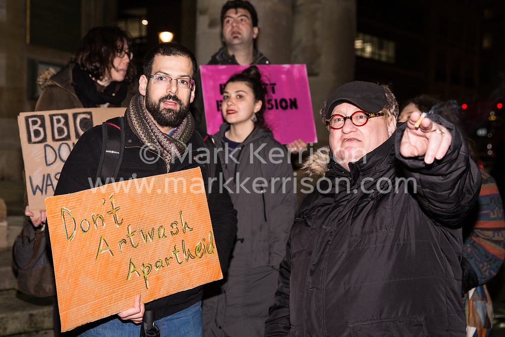 London, UK. 8th February, 2019. Eran Cohen (l), Israeli-born member of Jewdas, joins pro-Palestinian activists attending a 'Love Eurovision, Hate Apartheid!' protest outside BBC Broadcasting House organised by London Palestine Action to call on the BBC to withdraw from the 2019 Eurovision Song Contest hosted by Israel so as to avoid complicity in 'artwashing' Israel's violations of Palestinian human rights. The protest formed part of a global campaign to Boycott Eurovision in Israel.