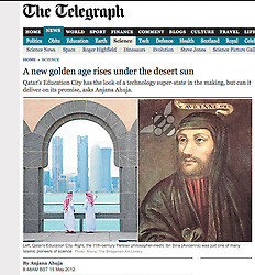 Tearsheet from The Telegraph; View of Doha Qatar