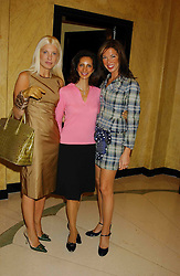 Left to right, ANNASTASIA MARSAGLIA, FERZANA BARCLAY and HEATHER KERZNER and  at a lunch and fashion show by Bruce Oldfield in aid of Barnados and held at Claridges, Brook Street, London W1 on 22nd September 2004.<br /><br />NON EXCLUSIVE - WORLD RIGHTS