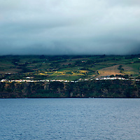 Europe, Portugal, Azores. Approaching Azores  São Miguel island by sea.