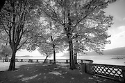 Black and white photo of the lakefront walls at Lago Maggiore, Italy