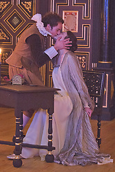"""© Licensed to London News Pictures. 14 January 2014. London, England. GEMMA ARTERTON as The Duchess and ALEX WALDMANN as Antonio.  Actress Gemma Arterton stars as the Duchess in the play """"The Duchess of Malfi"""" by John Webster. This is the first production to take place at the Sam Wanamaker Playhouse at the Globe Theatre. The performance is only lit by candles. Directed by Dominic Dromgoole. Photo credit: Bettina Strenske/LNP"""