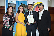 NO FEE PICTURES<br /> 25/1/19 Pól O Conghaile, Irish Independent, winner of Best Home Market (Ireland) story, presented by Suzanne Coogan and Laoise Donnelly of Fáilte Ireland and Eoghan Corry, editor of Travel Extra pictured at the Travel Extra Travel Journalist of the Year 2018 at the Clayton Hotel, Ballsbridge in Dublin. Picture; Arthur Carron